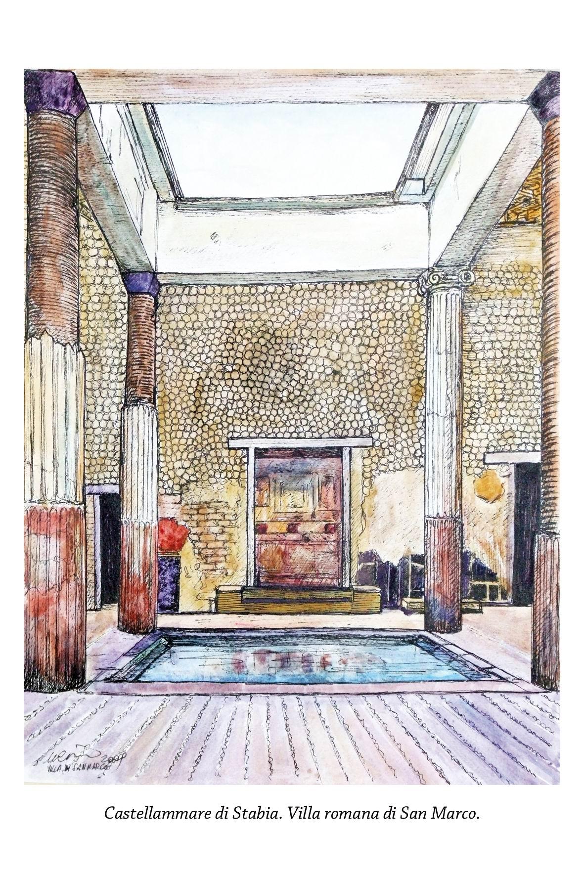 Il frigidarium di Villa San Marco (pittura del maestro Umberto Cesino)