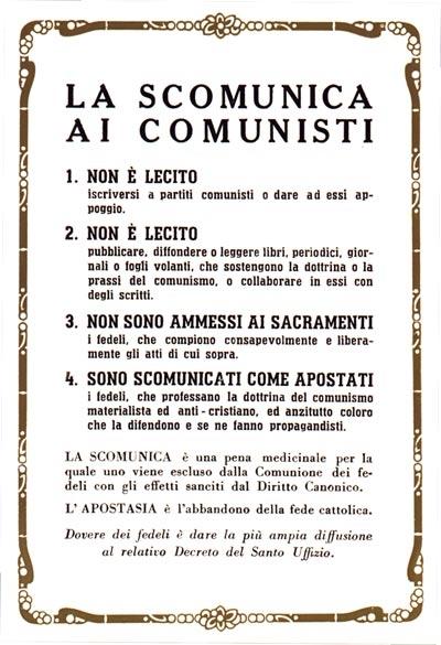 la scomunica ai comunisti