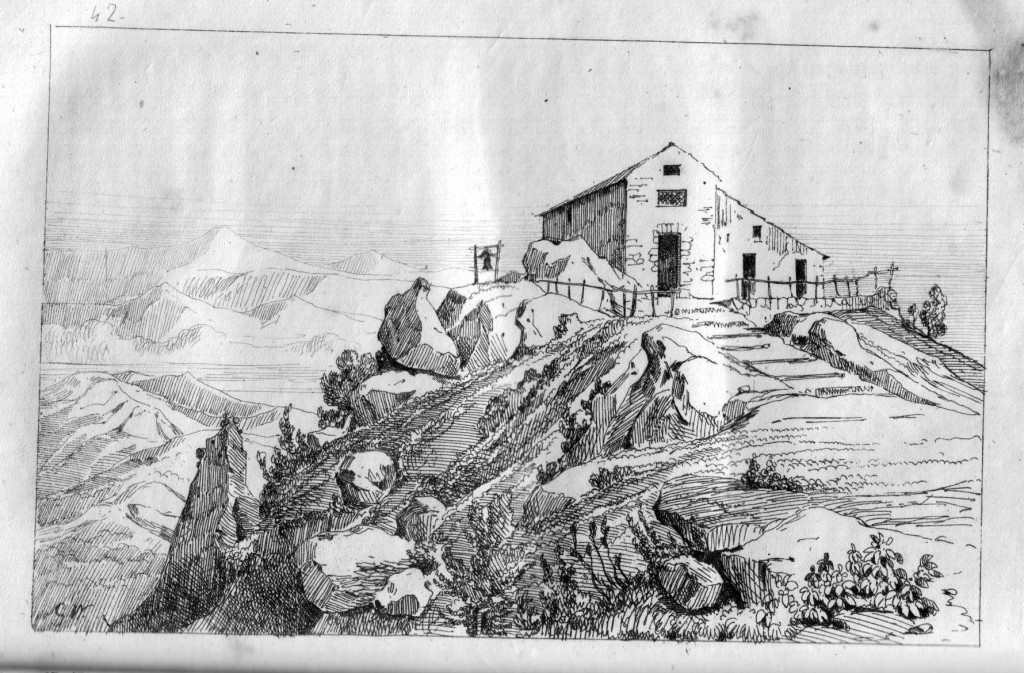 Chiesa di San Michele al Monte Aureo - Alvino (stampa d'epoca coll. G. Fontana).
