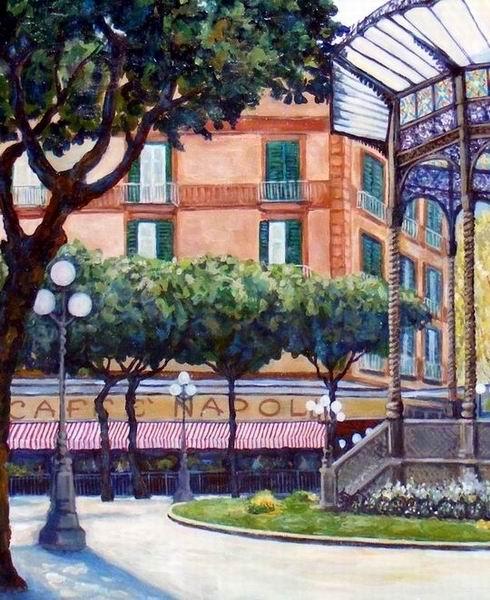 Il Gran Caffè Napoli in un dipinto del maestro Umberto Cesino