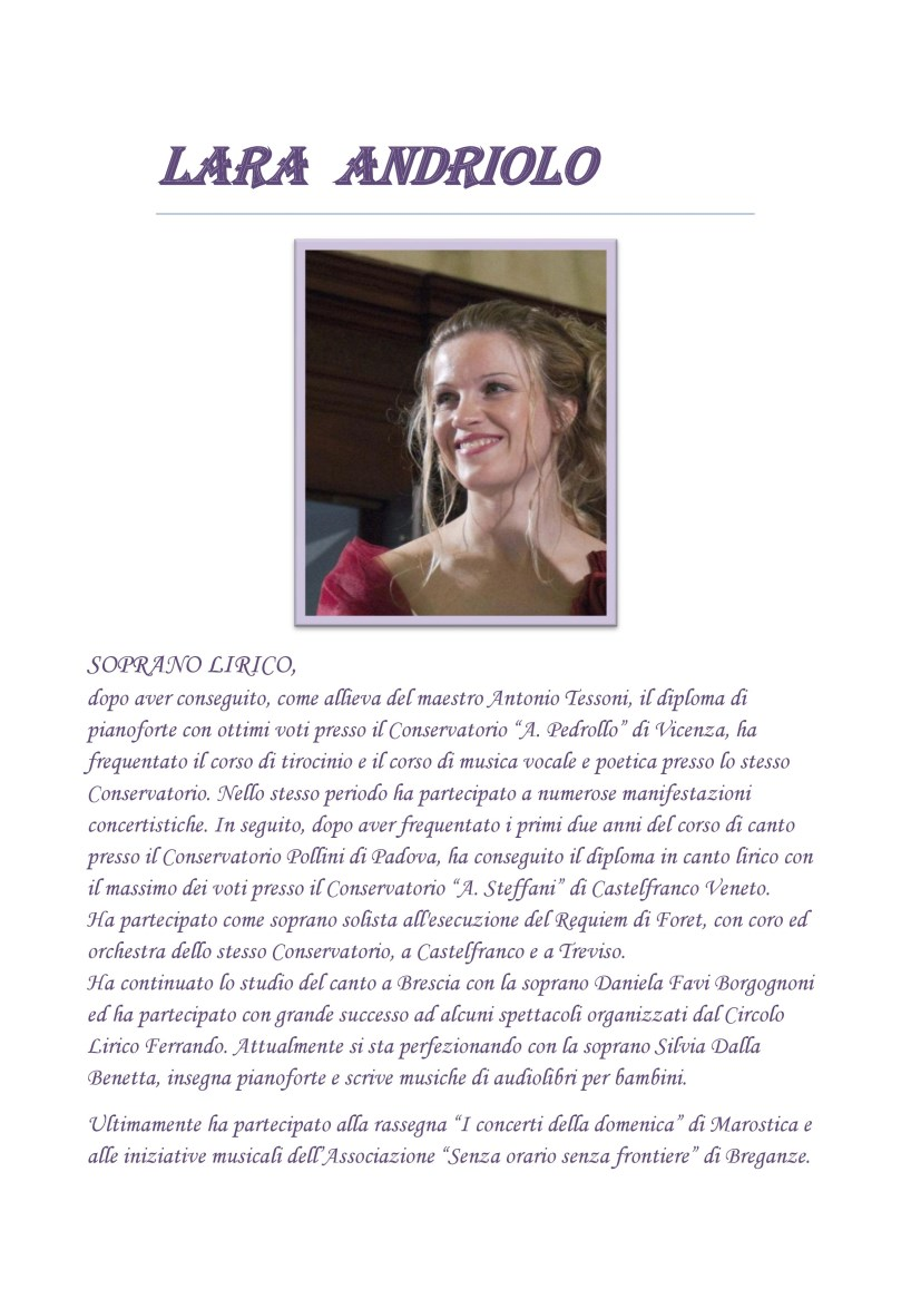 LARA ANDRIOLO, breve biografia