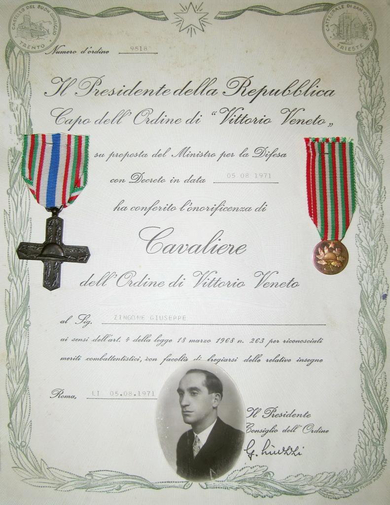 Cavaliere dell'Ordine di Vittorio Veneto