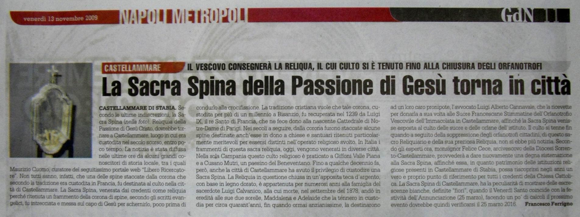 Il Giornale di Napoli – Francesco Ferrigno (13 novembre 2009)