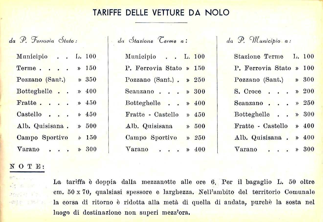 Tariffe carrozzelle - anno 1953 (coll. Bonuccio Gatti)