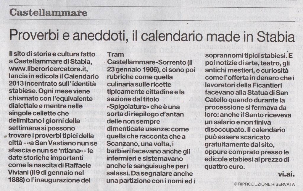 Il Mattino – Vincenzo Aiello (6 gennaio 2013)