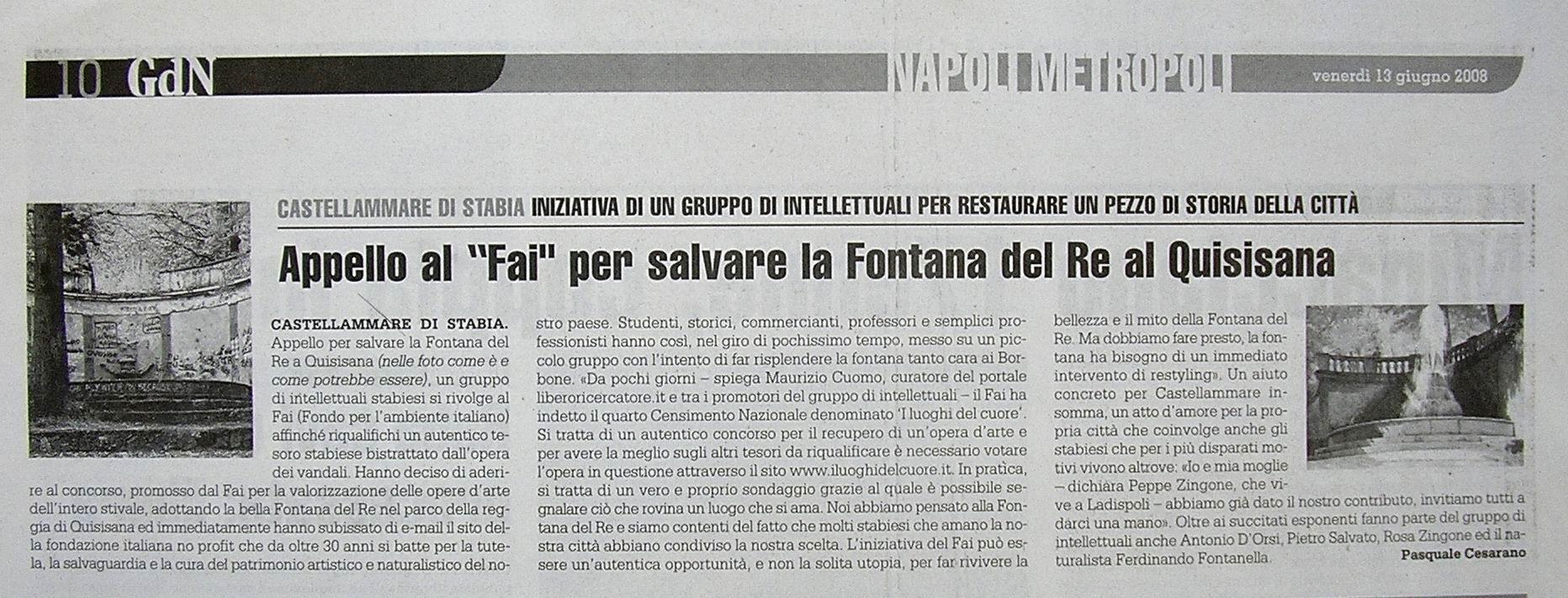 Il Giornale di Napoli – Pasquale Cesarano (13 giugno 2008)