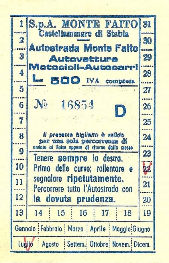 Ticket per Faito (collezione Domenico Cuomo)