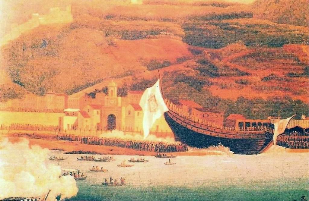 Il varo del vascello Vesuvio (dipinto di Coblanch).