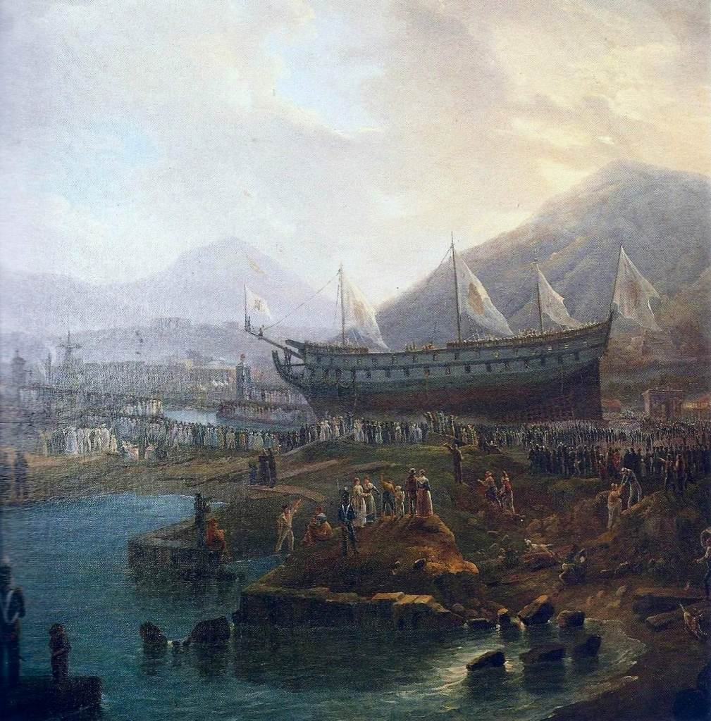 Varo del vascello Vesuvio - particolare (autore S. Fergola - Palazzo Reale di Caserta)