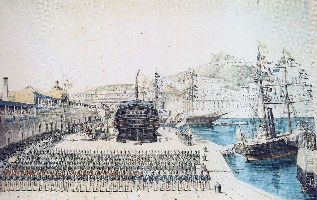 Il Vesuvio all'inaugurazione del bacino di raddobbo (stampa - Museo San Martino di Napoli).