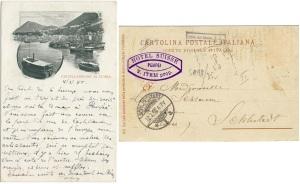 Cartolina di Castellammare datata 1898 sia nel testo sul fronte, che nei timbri di viaggio apposti sul retro
