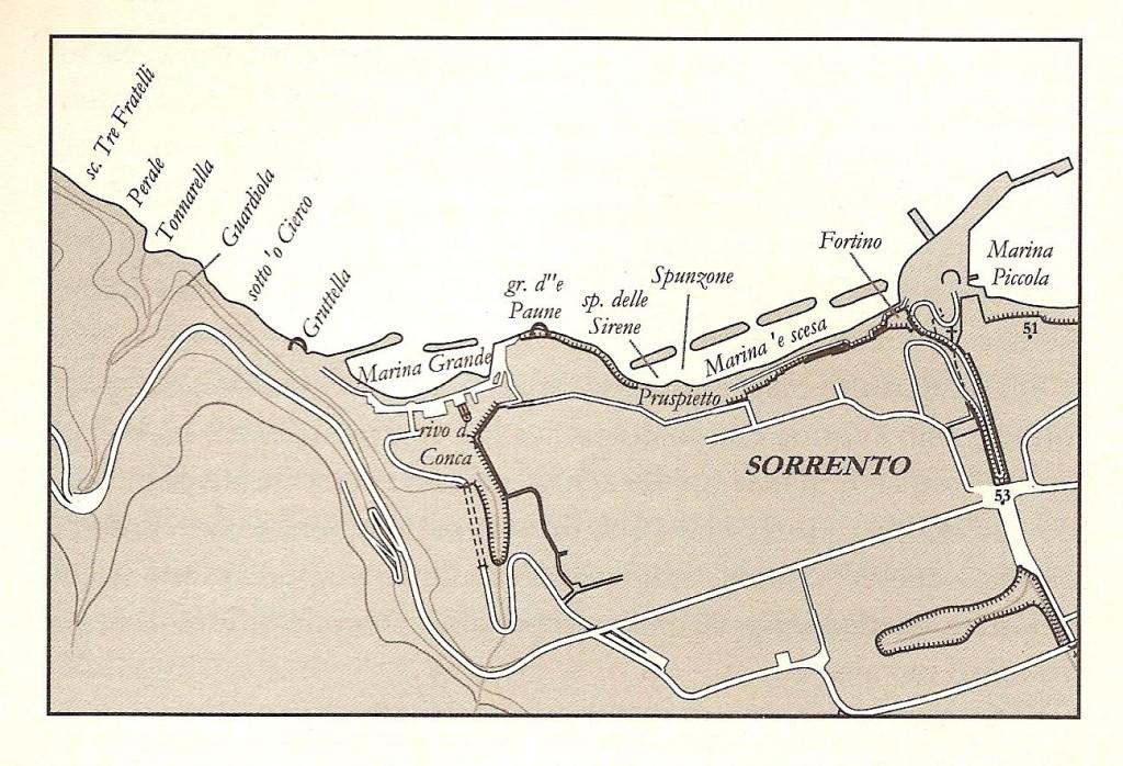 Carta della costa di Sorrento