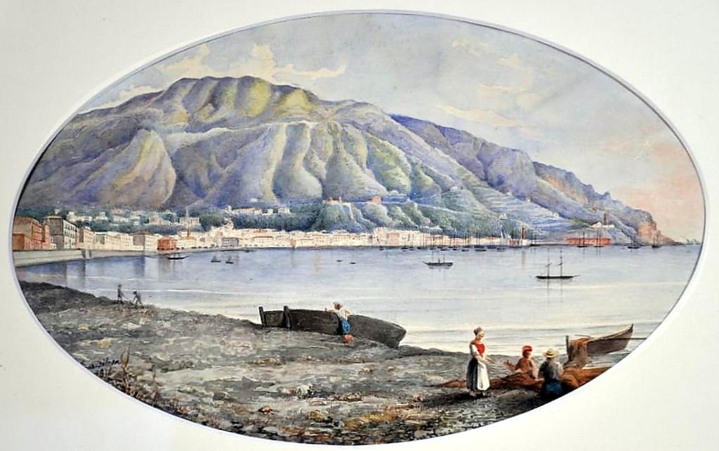 Filosa Giuseppe ( XIX secolo ) Castellammare acquerello su carta cm 21x23.5 ovale