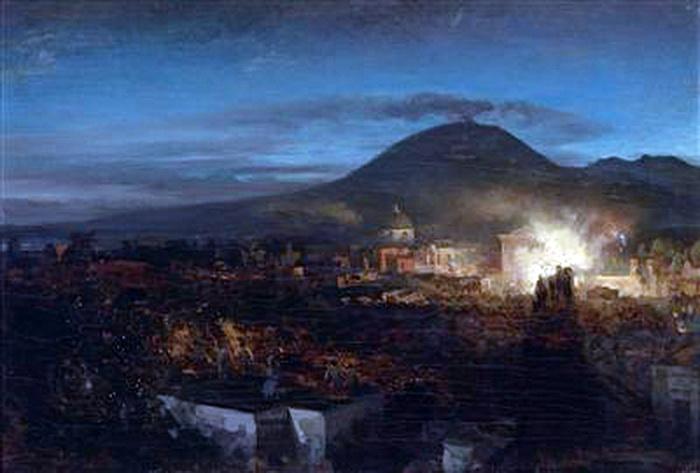 Fuochi d'artificio a Torre dell'Annunziata, Osvald Achenbach, olio su tela, cm. 38 x 55,5
