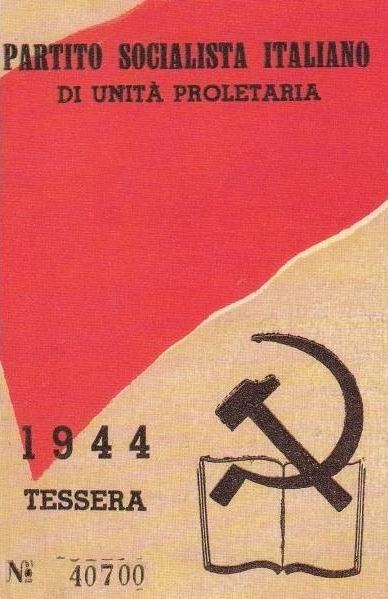 Tessera Partito Socialista (anno 1944)