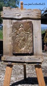 Flora (scultura in bronzo su cavalletto rustico del M° Jean-Louis Berthod)