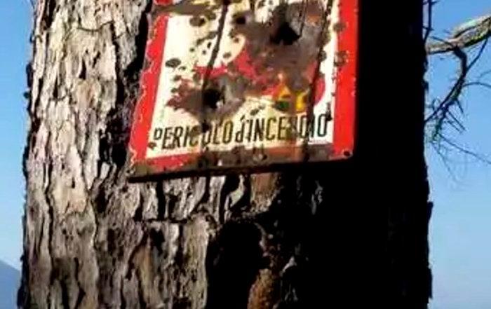 """Un vecchio cartello """"impallinato"""" del Faito"""
