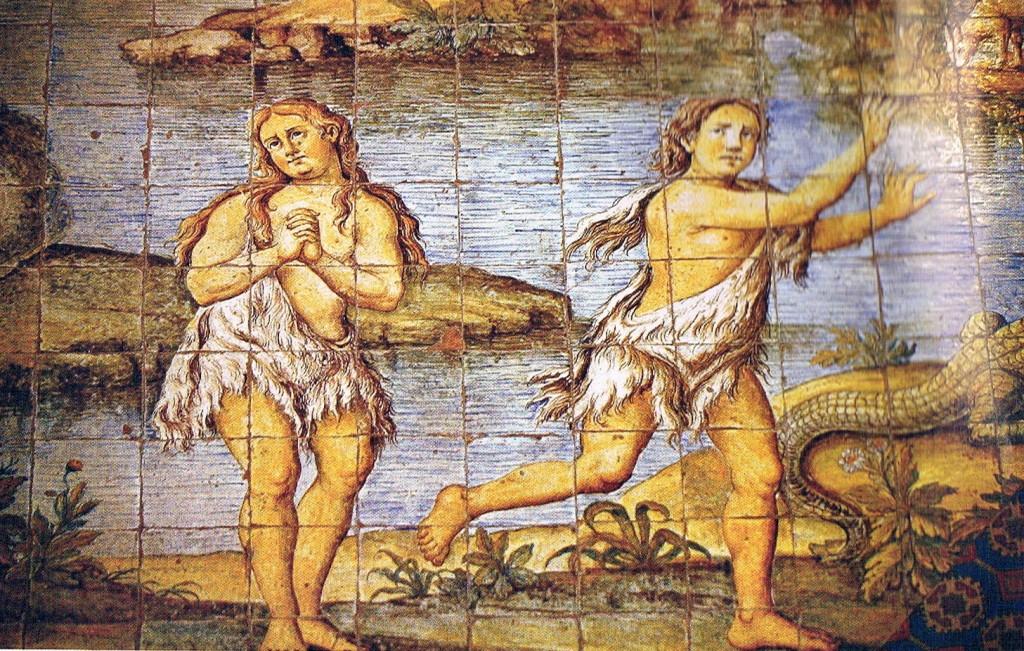 Cacciata di Adamo ed Eva dal Paradiso Terrestre, maioliche XVIII secolo, Chiesa di San Michele ad Anacapri
