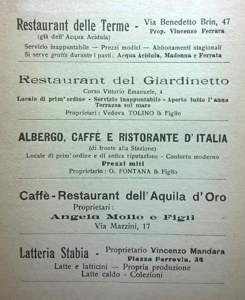 Ristoranti ed esercizi commerciali stabiesi (anno 1923)