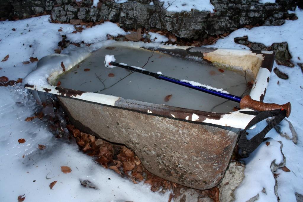 Una vasca abbeveratoio ghiacciata (foto Maurizio Cuomo)