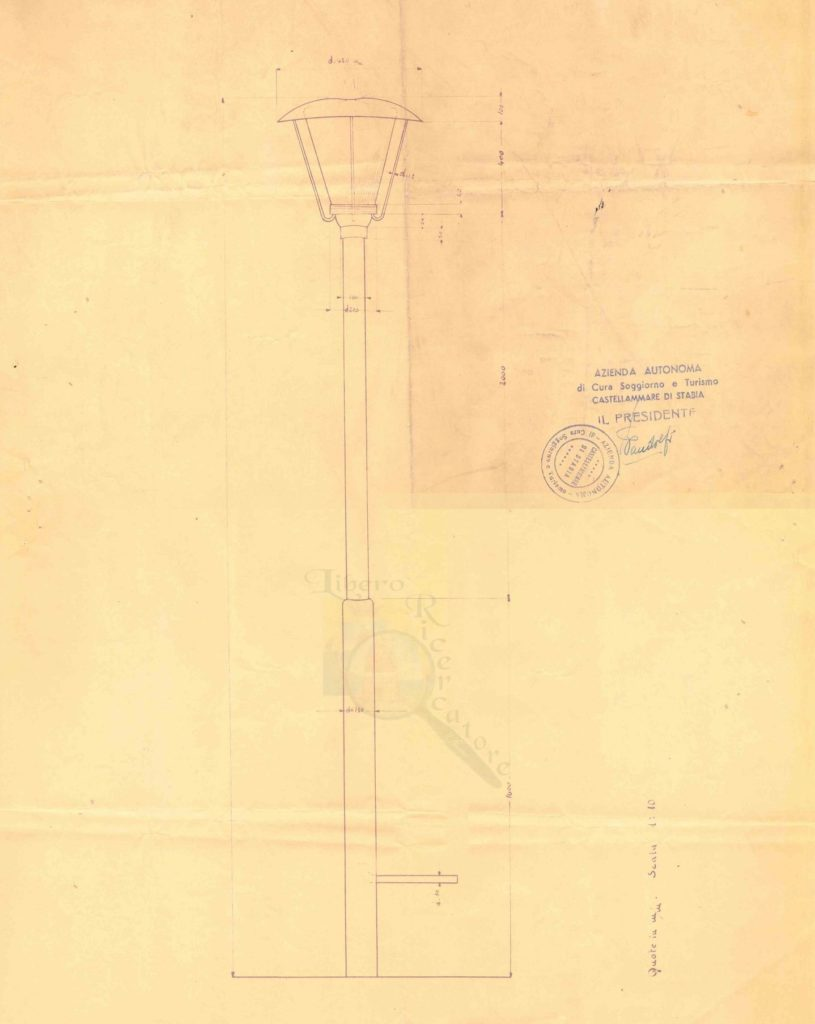 Il vecchio lampione in Villa Comunale (progetto originale d'epoca)