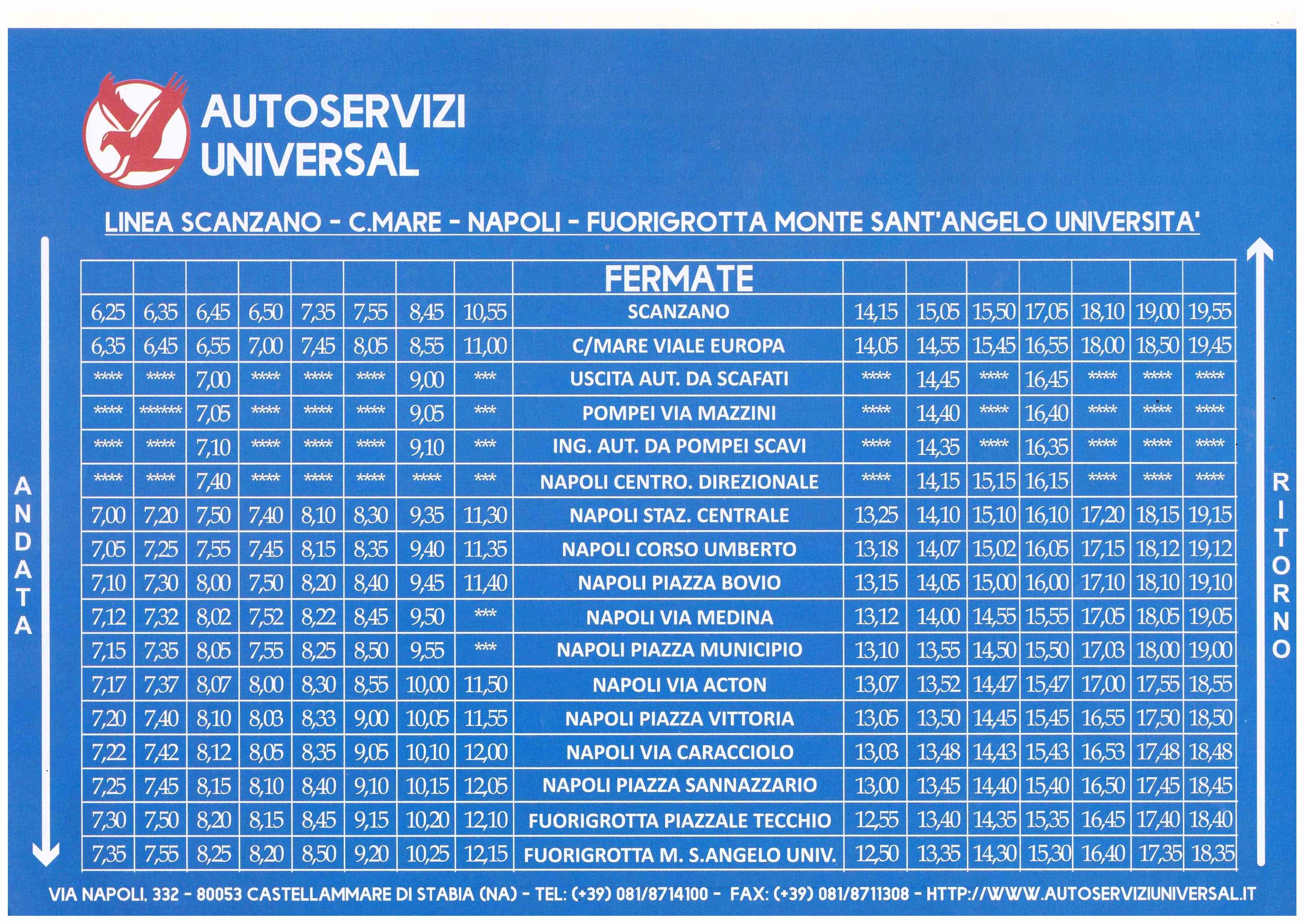 Calendario Napoli Orari.Orario Bus Castellammare Monte Sant Angelo Libero Ricercatore