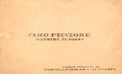 Biglietto da visita Ciro Piccione
