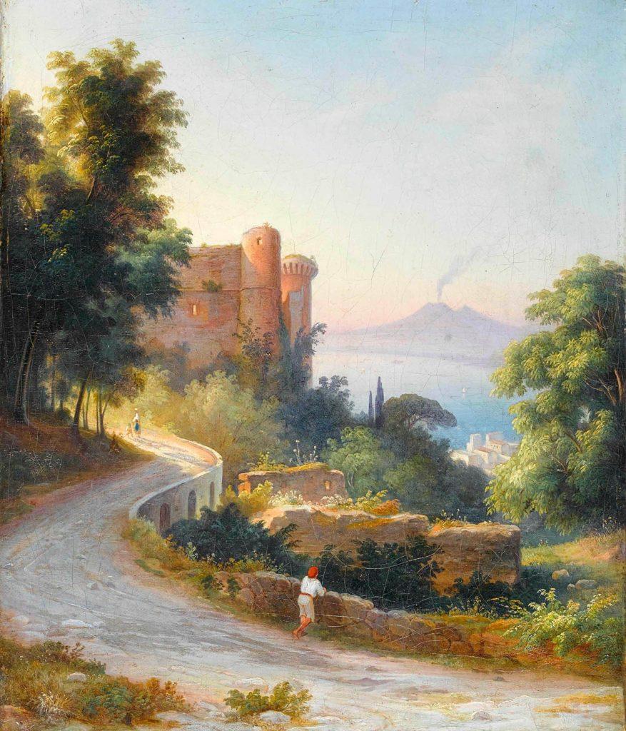 Il castello di Castellammare di Stabia con il fumo del Vesuvio - Buhlmann