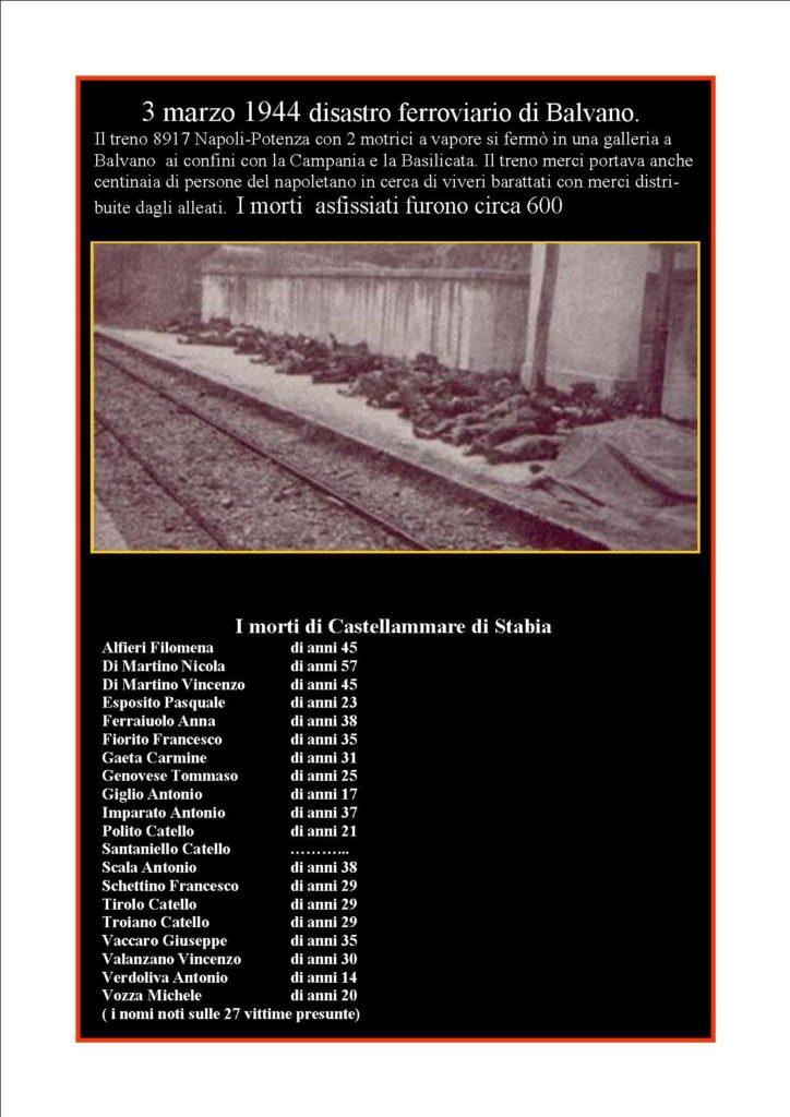 Balvano: i morti di Castellammare di Stabia