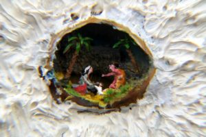 Presepe in un guscio d'uovo di bengalino