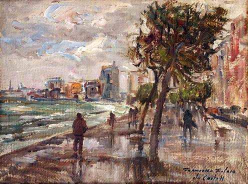 Francesco Filosa - La Villa comunale in un giorno di pioggia
