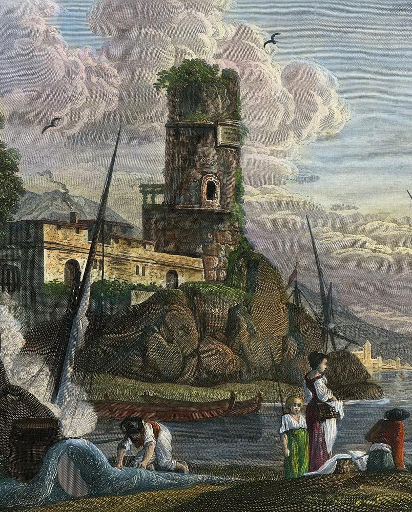 Castel Amar sur de Golphe de Naples, fine 1700, particolare, collezione Gaetano