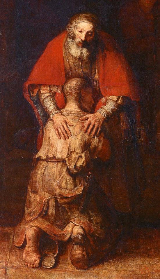 Rembrandt, il Padre Misericordioso, particolare.