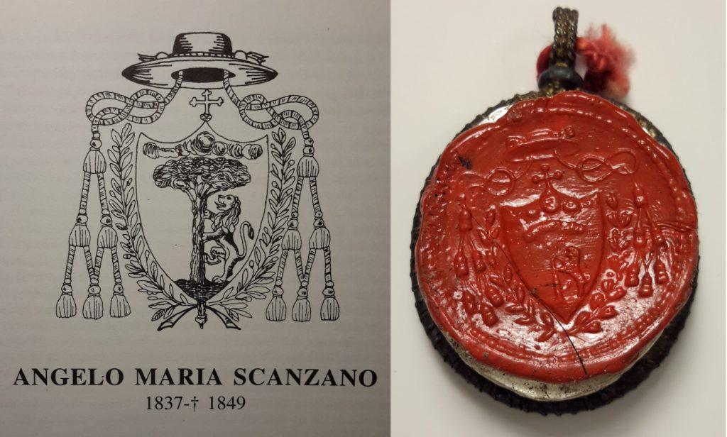 Stemma del Vescovo Angelo Maria Scanzano e sigillo racchiuso all'interno del reliquiario