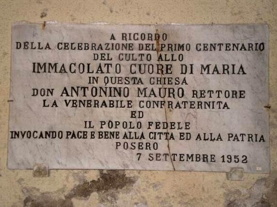 Chiesa del Sacro Cuore di Maria: lapide marmorea