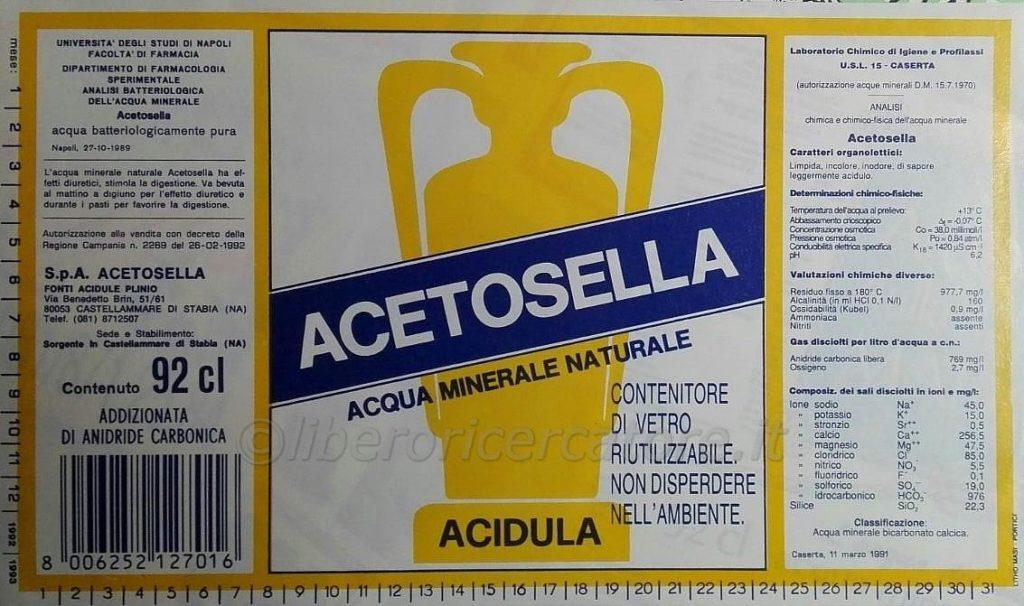 etichetta acqua acetosella