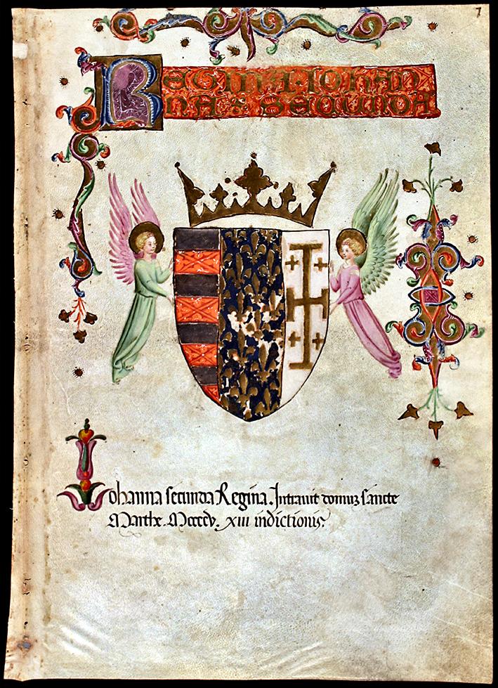 Archivio di Stato di Napoli, Codice di Santa Marta, Stemma della Regina Giovanna II, dal secolo XV al XVII, folio 7