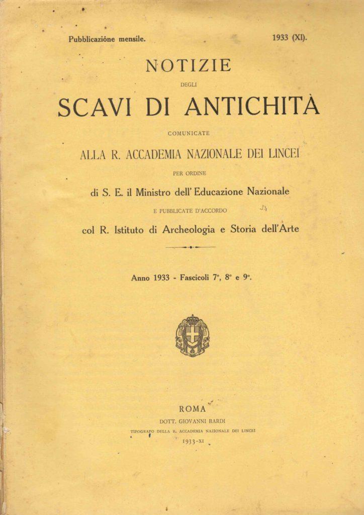 Notizie degli scavi di antichità (1933)