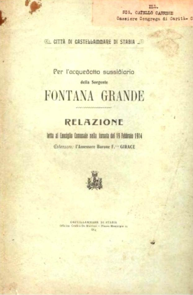 Per l'Acquedotto sussidiario della Sorgente Fontana Grande (1914)