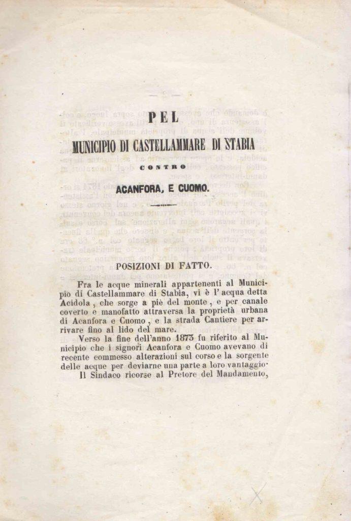 Pel Municipio di Castellammare di Stabia contro Acanfora, e Cuomo (1874?)