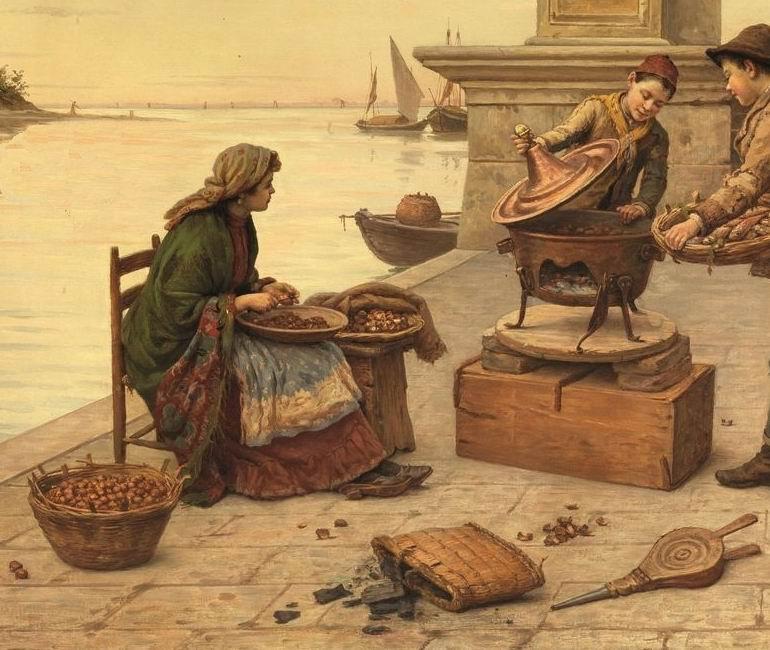 venditrice di castagne