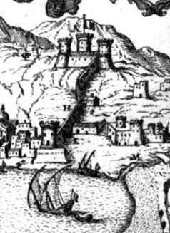 Pacichelli, 1703. Particolare della Torre Alfonsina