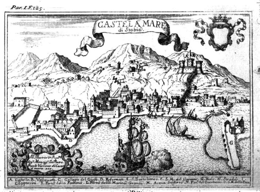 Giovan Battista Pacichelli, Il Regno di Napoli in prospettiva, Napoli 1703, pag. 184-185. (coll. Gaetano Fontana)