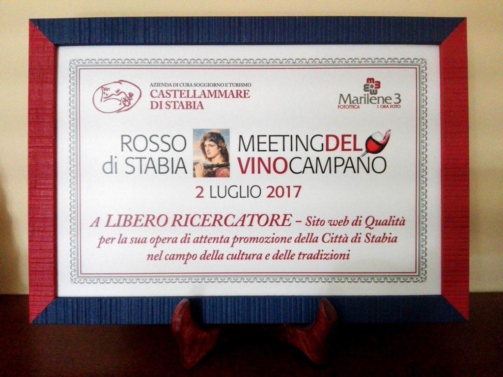 Rosso di Stabia - Premio Radici (2017) per la Cultura e le Tradizioni.