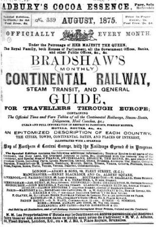 Guida Bradshaw, Agosto 1875, interno di copertina