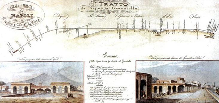 Il primo tratto della strada ferrata, Napoli-Portici