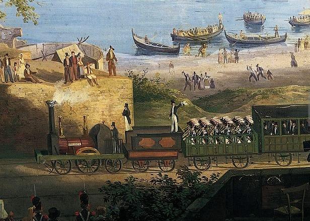 La locomotiva Vesuvio, particolare, Salvatore Fergola