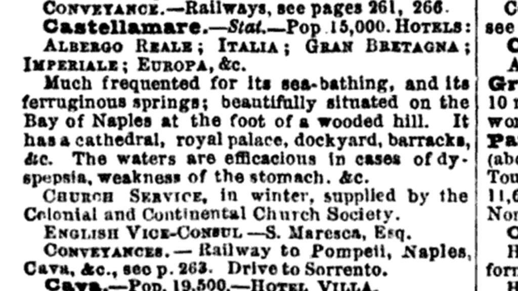 Guida Bradshaw 1875, pag. 514, Castellammare, breve descrizione