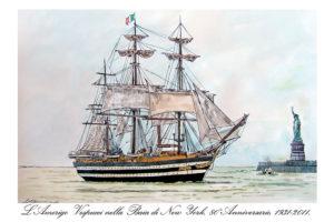 L'Amerigo Vespucci nella Baia di New York