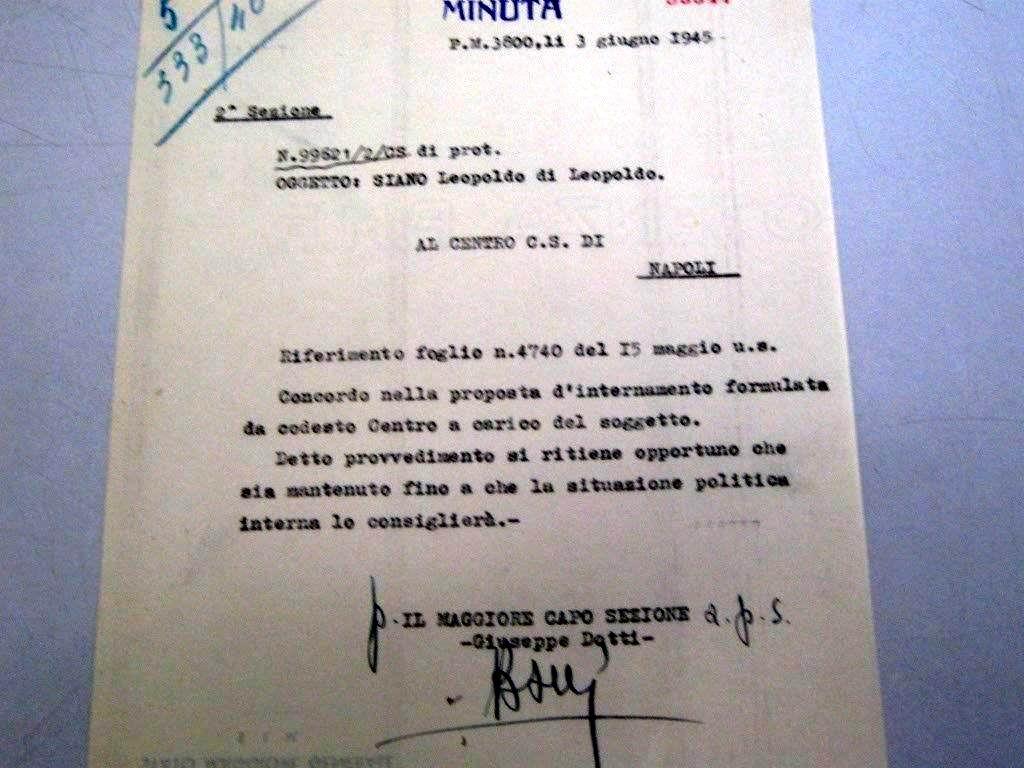 Documento inedito ritrovato nell'Archivio Militare di Roma